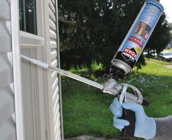 Handi-Foam® Window u0026 Door low pressure one-component polyurethane foam sealant is a closed cell low pressure build window and door foam sealant. & Handi-Foam® Window and Door Low Pressure One-Component Polyurethane ...